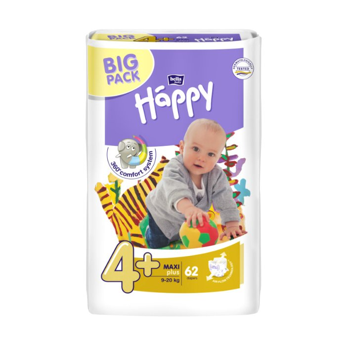 BELLA Happy BP maxi+ 9-20kg 62ks 4+